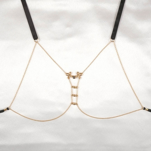 Sylvie Monthule Women's Gold Brandebourgs Knot Breast Chain with Hematite Pendant
