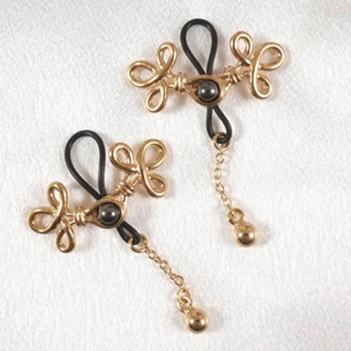 Sylvie Monthule Women's Gold Brandebourgs Knot Non-Piercing Nipple Rings