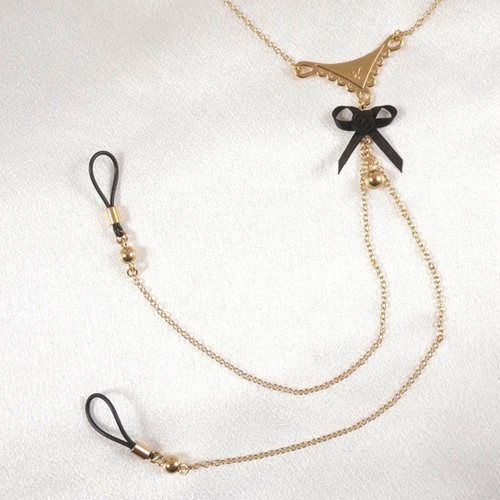 Sylvie Monthule Women's Gold Lace & Black Bow Neck Chain with Non-Piercing Nipple Rings