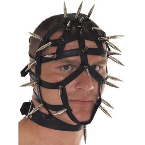 Rimba Spiked Leather Face Mask with Open Straps