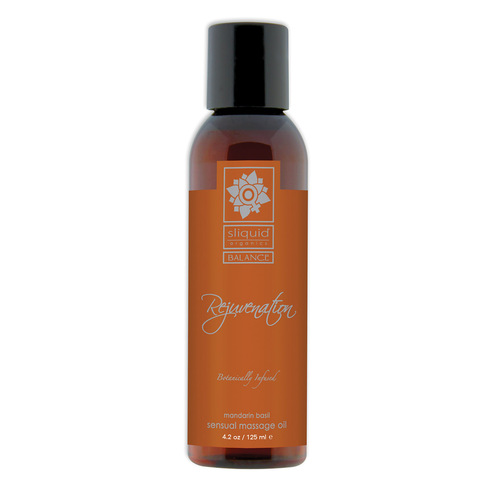 Sliquid Organics Balance Sensual Massage Oil Rejuvenation Mandarin Basil 4.2 oz