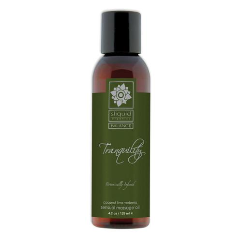 Sliquid Organics Balance Sensual Massage Oil Tranquility Tranquility Coconut Lime Verbena 4.2 oz
