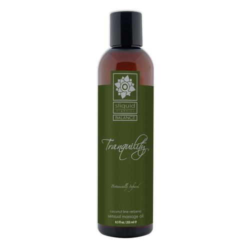 Sliquid Organics Balance Sensual Massage Oil Tranquility Tranquility Coconut Lime Verbena 8.5 oz