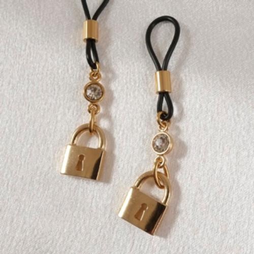 Sylvie Monthule Women's Gold Padlock & Crystal Gem Non-Piercing Nipple Rings