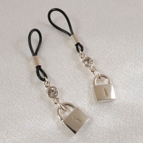 Sylvie Monthule Women's Silver Padlock & Crystal Gem Non-Piercing Nipple Rings