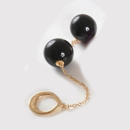 Buy the Unisex Jewels in Harmony Insertable Black Double 34mm Geisha Balls Crystal Orb with Gold Loop kegel pc muscles exercise - Sylvie Monthule Erotic Jewelry made in France
