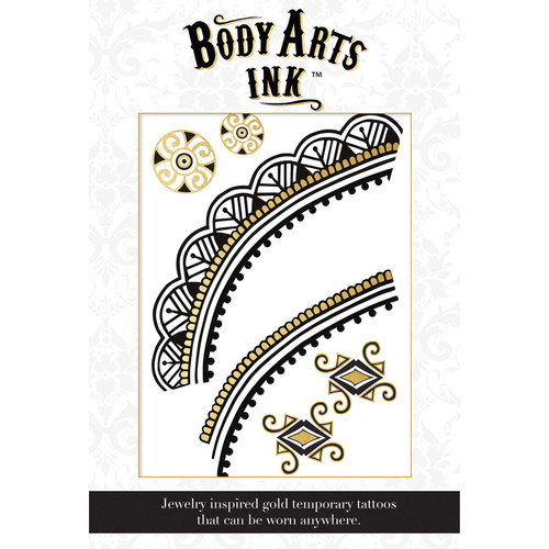 Body Arts Ink Athena Temporary Gold & Black Chest or Back Tattoo