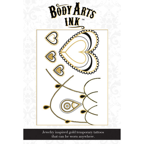Body Arts Ink Coco Temporary Gold & Black Chest Tattoo with Pasties