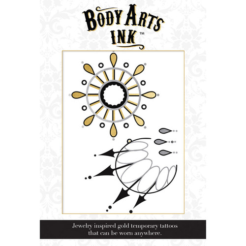 Body Arts Ink Audrey Temporary Gold & Black Chest Tattoo with Pasties