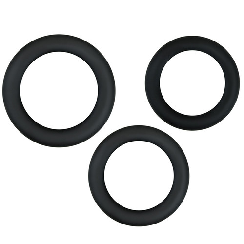 NS Novelties Renegade Diversity Rings Midnight Black 3-piece Silicone Cockring Set
