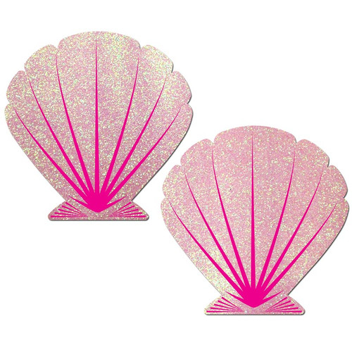 Pastease Mermaid Baby Pink Glitter & Pink Seashell Nipple Pasties