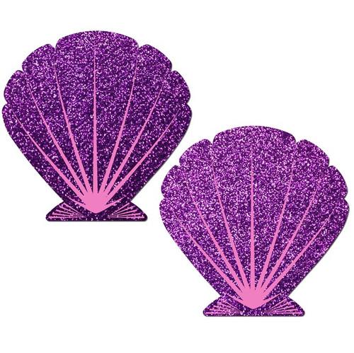 Pastease Mermaid Purple Glitter & Pink Seashell Nipple Pasties