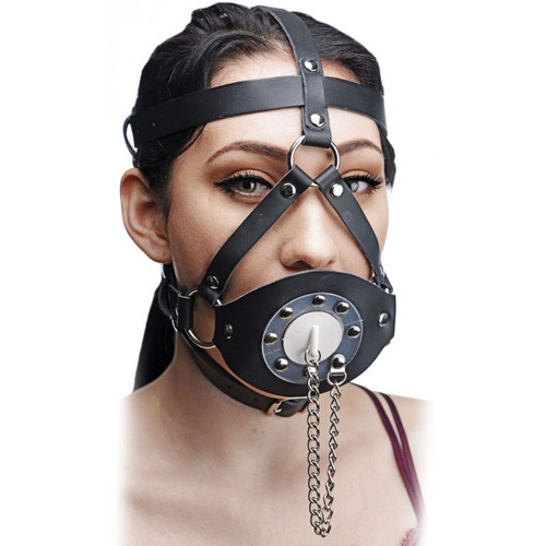 Master Series Plug Your Hole Open Mouth Leather Head Harness