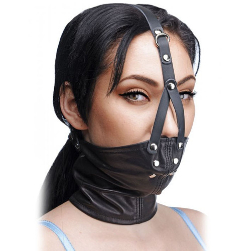 Master Series Leather Neck Corset Harness with Stuffer Gag