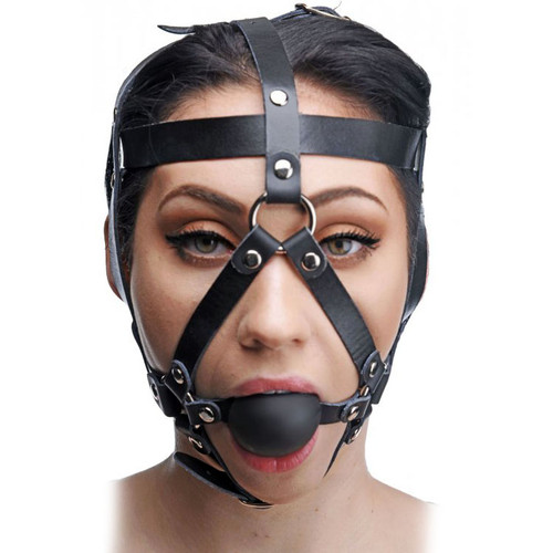 Master Series Leather Head Harness with Ball Gag