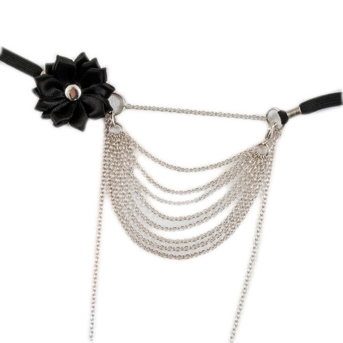 Sylvie Monthule Women's Silver Strings of Love G-String with Flower & Drape Chains