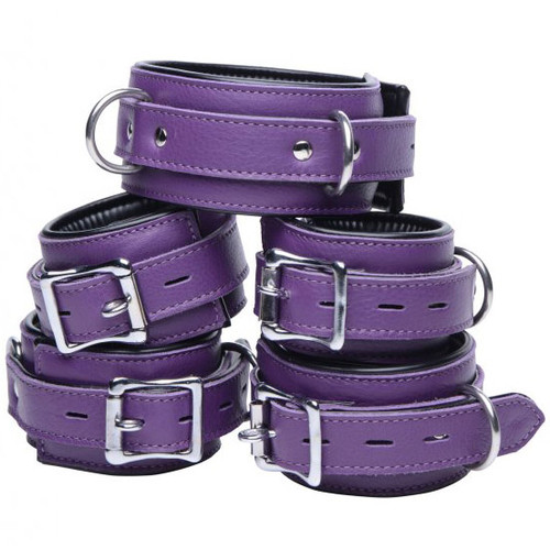 Buy the Strict Leather Purple 5-Piece Locking Leather Bondage Set - XR Brands