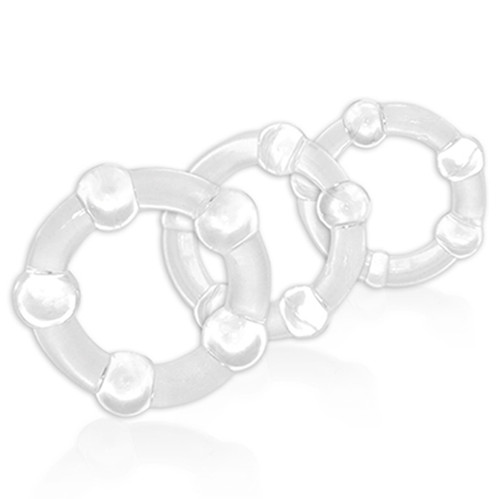 Buy the Stay Hard Beaded Graduated 3-Piece Cock Ring Set in Clear erection enhancer - Blush Novelties
