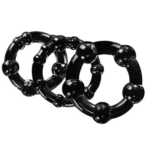 Buy the Stay Hard Beaded Graduated 3-Piece Cock Ring Set in black erection enhancer - Blush Novelties