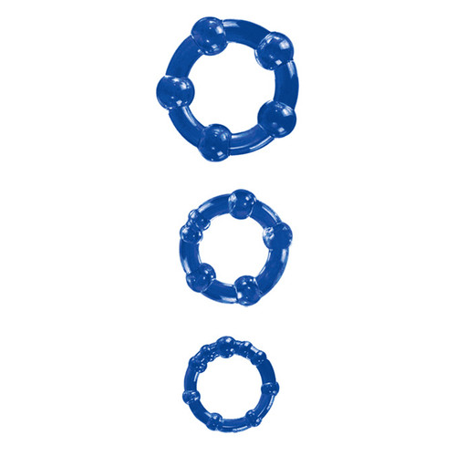 Blush Novelties Stay Hard Beaded Cock Rings Blue