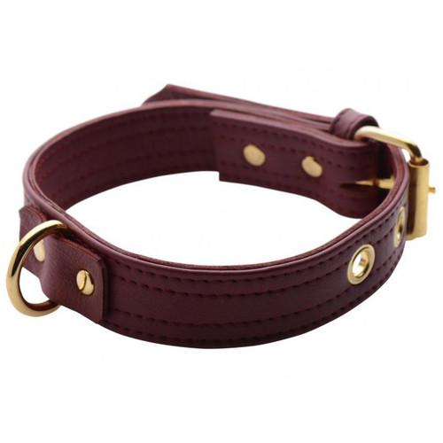 Strict Leather Luxury Burgundy Locking Leather Collar