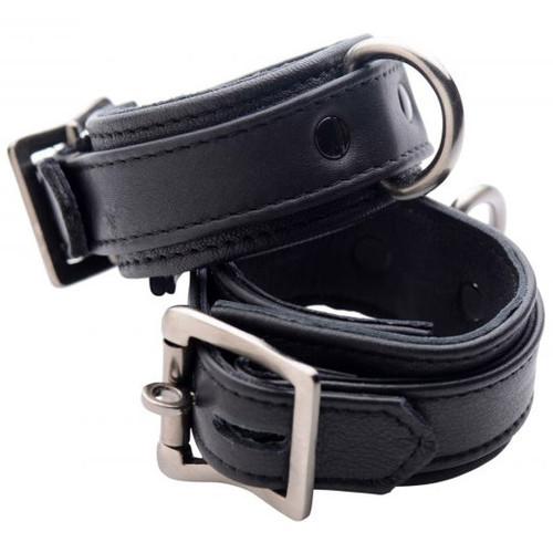 Strict Leather Luxury Black Locking Leather Wrist Cuffs