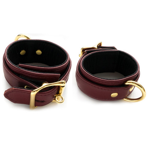 Buy the JT Signature Collection Brown Leather Locking Wrist Restraints with Gold Hardware - The StockRoom