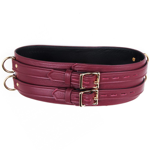 Buy the JT Signature Collection Brown Leather Locking Waist Cuff with Gold Hardware - The StockRoom