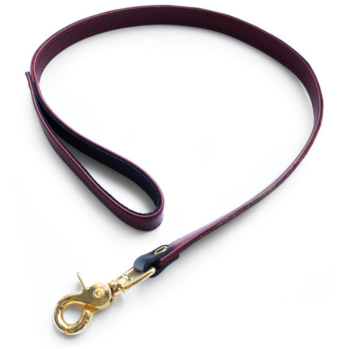 Buy the JT Signature Collection Brown Leather Leash with Gold Hardware - StockRoom