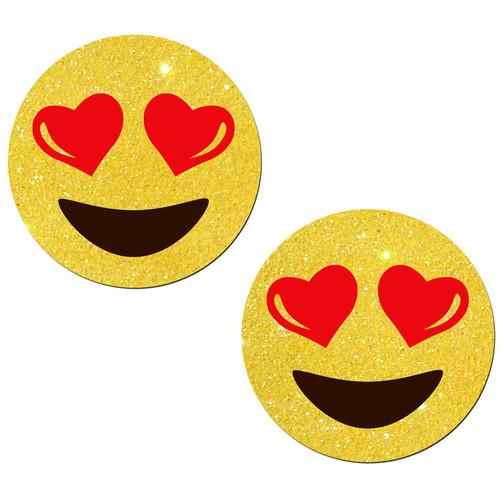 Pastease Emoji Heart Eyes on Yellow Glitter Nipple Pasties