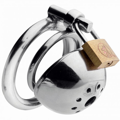 Buy the Solitary Extreme Confinement Cage Locking Stainless Steel Male Micro Chastity Device with 2 Rings - XR Brands Master Series