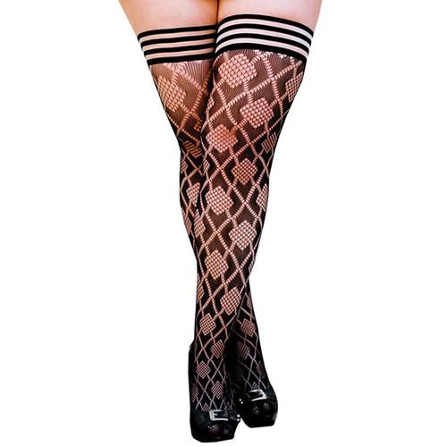 Kix'ies Elle Black Fishnet Diamond Patterned No-Slip Thigh High Tights