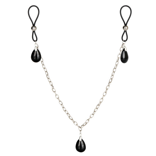 Cal Exotics Nipple Play Non-Piercing Onyx Crystal Pendant Chain Nipple Jewelry