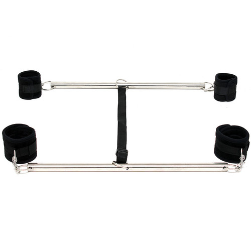 Rimba Soft Bondage Black Double Ankle & Wrist Spreader Bar with Soft Cuffs