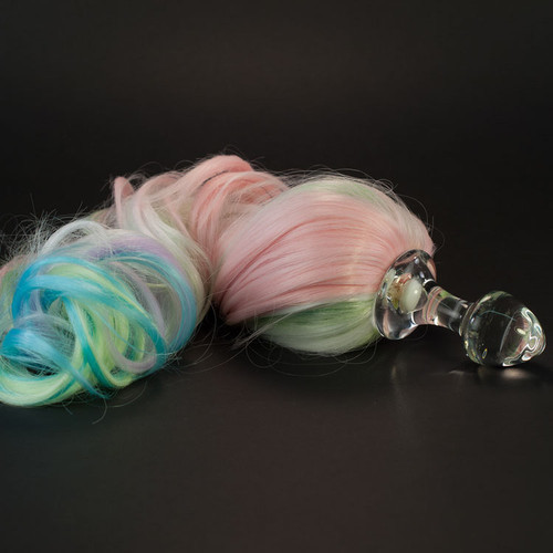 71c2205ab ... Crystal Delights Crystal Minx Pastel 5-Color Rainbow Faux Pony Tail  Clear Butt Plug ...