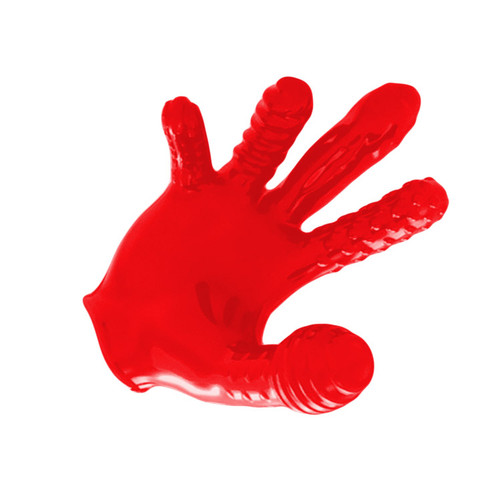 OXBALLS Finger F ck Textured Unisex Glove Clear Ruby Red