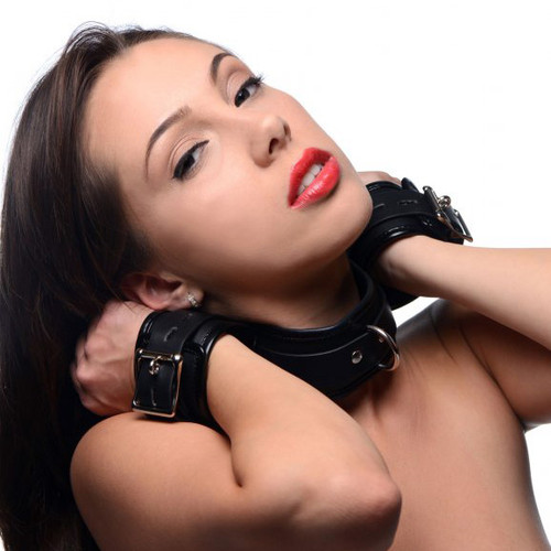 Strict Locking Faux Leather Neck to Wrist Restraint
