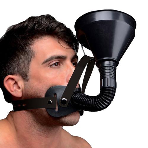 Buy the Master Series Latrine Extreme 40 oz Funnel Adjustable Head Harness Gag in Black - XR Brands
