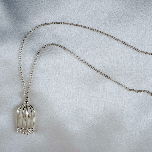Sylvie Monthule Women's Silver Bird in a Cage Pendant Necklace