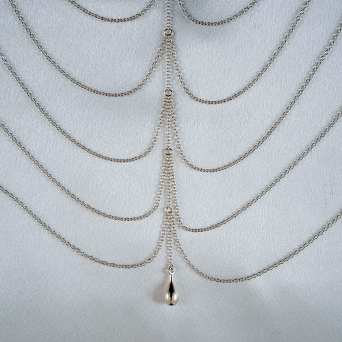 Sylvie Monthule Women's Silver Draping Breast Chains Necklace with Pendant