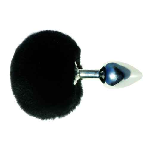 Sportsheets Midnight Polished Metal Butt Plug with Black Bunny Tail