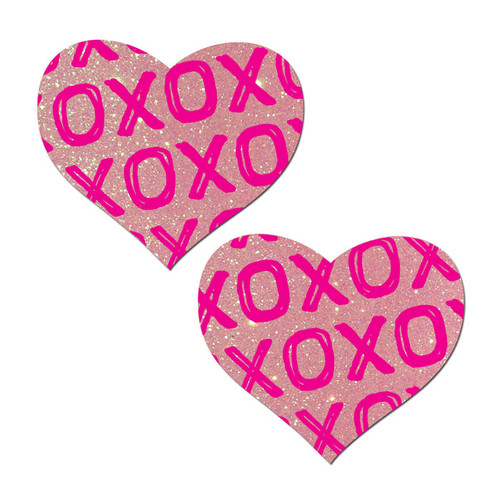 Pastease Love X's & O's Baby Pink Glitter Heart Pasties