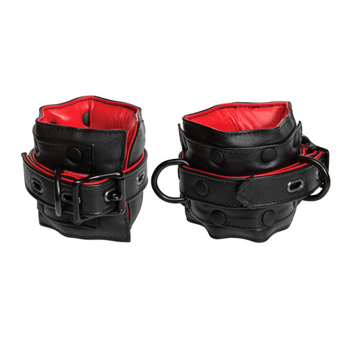Kink by Doc Johnson Black & Red Leather Locking Adjustable Ankle Restraints
