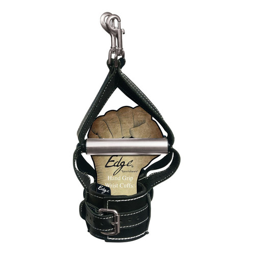 Buy Edge Bondage Black Leather Hand Grip Wrist Cuffs - Sportsheets