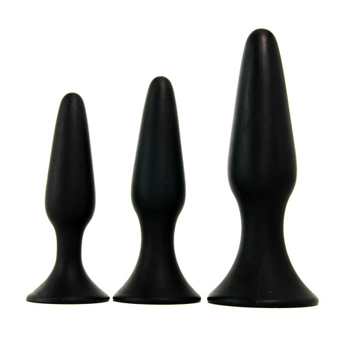 Buy the Silicone Anal Trainer 3-piece Butt Plug Set with graduated analplugs - Cal Exotics