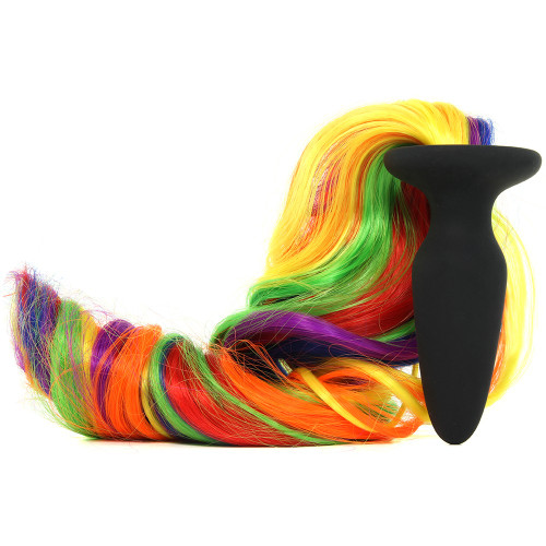 Buy Unicorn Tails Silicone Butt Plug with Rainbow Tail - NS Novelties