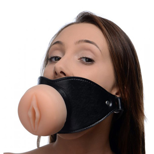 Buy the Vagina Pussy Face Oral Sex Mouth Gag - XR Brands Master Series