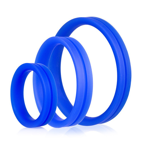 Buy the RingO Pro X3 Blue Silicone Erection Enhancer Penis Ring Set - Screaming O