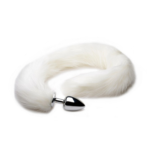 Buy the Extra Long White Furry Mink Tail with Metal Anal Plug buttplug animal roleplay- XR Brands Tailz