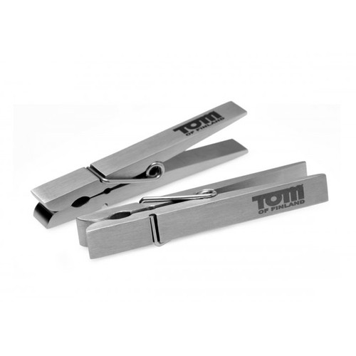 Buy the Bro's Pin Stainless Steel Nipple Clamps 1 Pair metal clothespin - XR Brands Tom of Finland